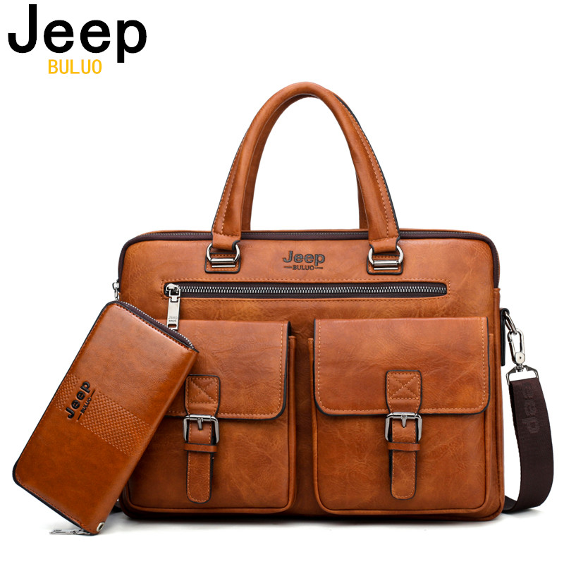 JEEP BULUO Brand Man'sBusiness Briefcase Bag 2pcs/set Split Leather High Quality Men office Bags For 13. 3 inch Laptop A4 Causel