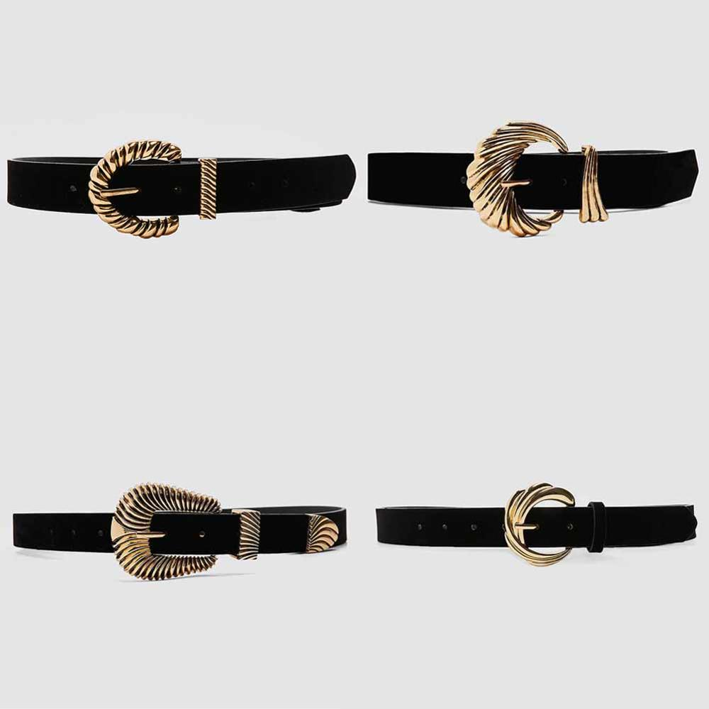 Girlgo 2020 Vintage Metal Twist ZA Belt For Women Gold Color PU Leather Coat Waist Belly Accessories Jewelry Party Wholesale Hot