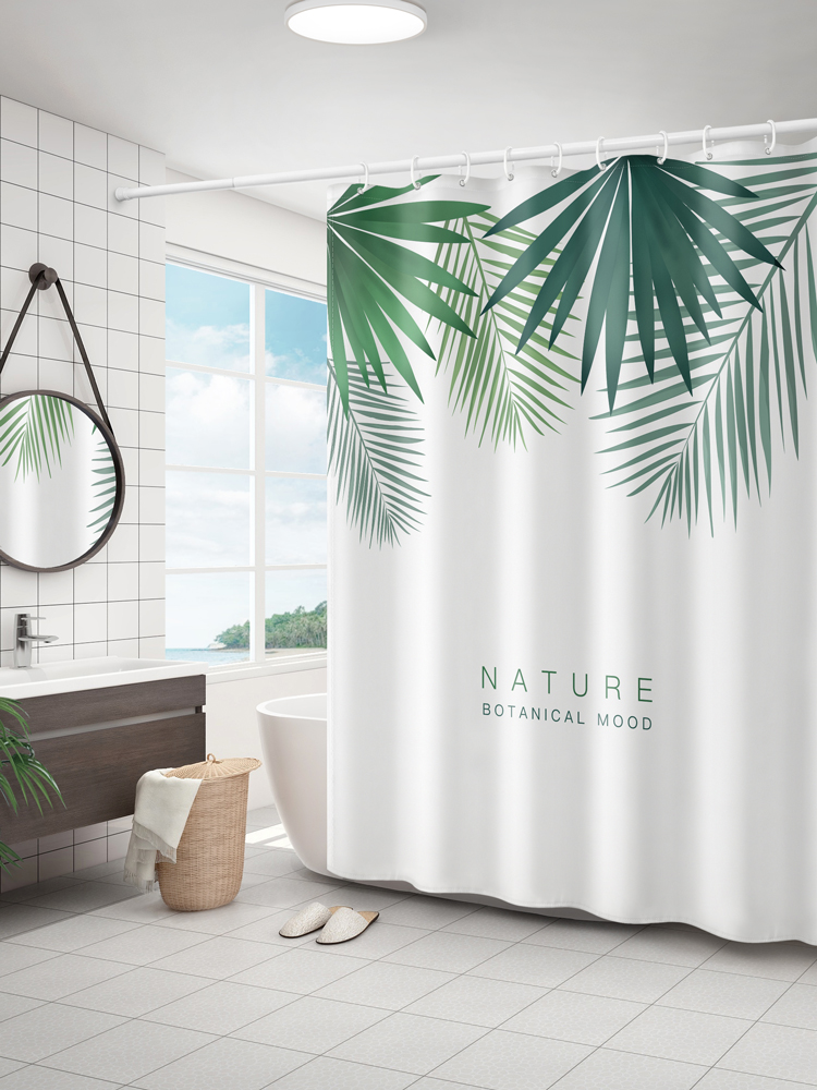 Toilet Shower Curtain Dry Wet Separation Block Water Cloth Green Scene Leaves Printing Shower Room Decoration Accessories