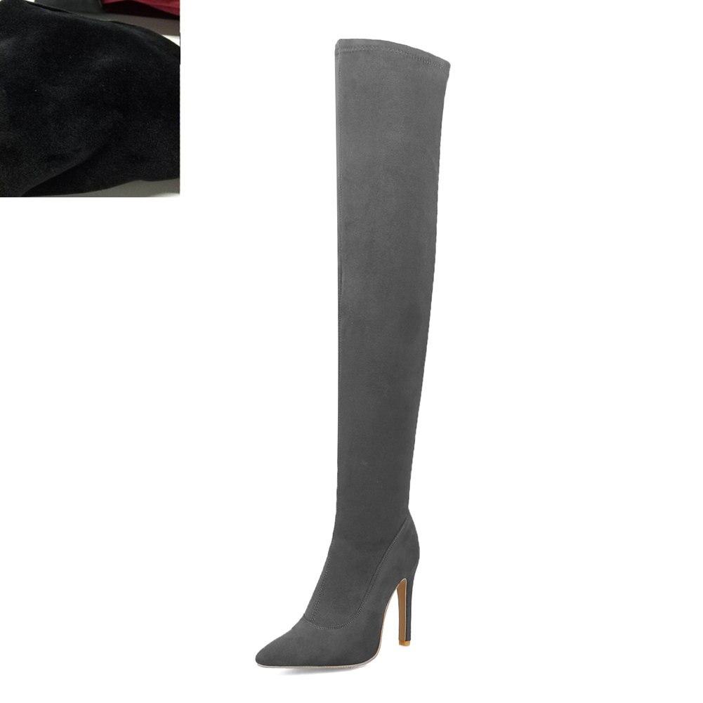 Новая Брендовая женская обувь женские ботфорты выше колена, большие размеры 32-48 пикантные вечерние сапоги на тонком высоком каблуке Женская обувь - Цвет: Gray short plush