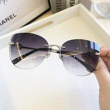 Mode Randlose Cat Eye Sonnenbrille Frauen 2020 Luxus Marke Braun Blau Gradienten Sonnenbrille Schwarz herz Dekoration Strand Brillen