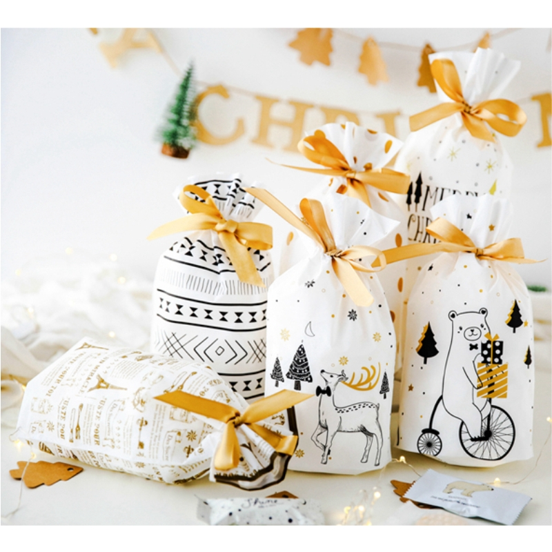 Christmas Gift Bag Wedding Candy Cookie Gift Bags Party Small Decorations New Year Presents Snack Baking Package Party Supplies