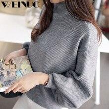 Sweater Women Pull Femme 2019Top Hot Women Lantern Sleeve Knit Sweater Jumper Loose Turleneck Outwear Top Blouse Vrouwen Trui