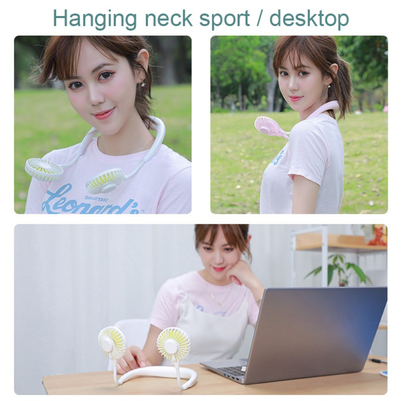 2020 Personal Air Conditioner Neck Fan Cooler-Free Portable Smart Dual Effect Cooling Neck Fan USB Hanging Neck Cooler Fans