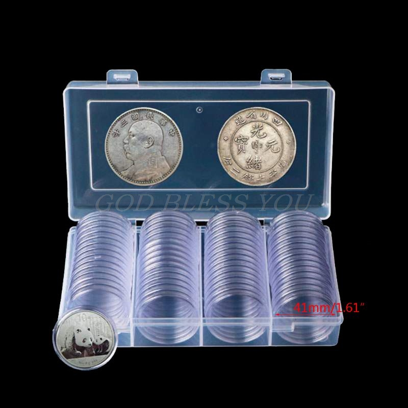 60Pcs Clear Round 41mm Direct Fit Coin Capsules Holder Display Collection Case With Storage Box For 1 Oz American Silver Eagles