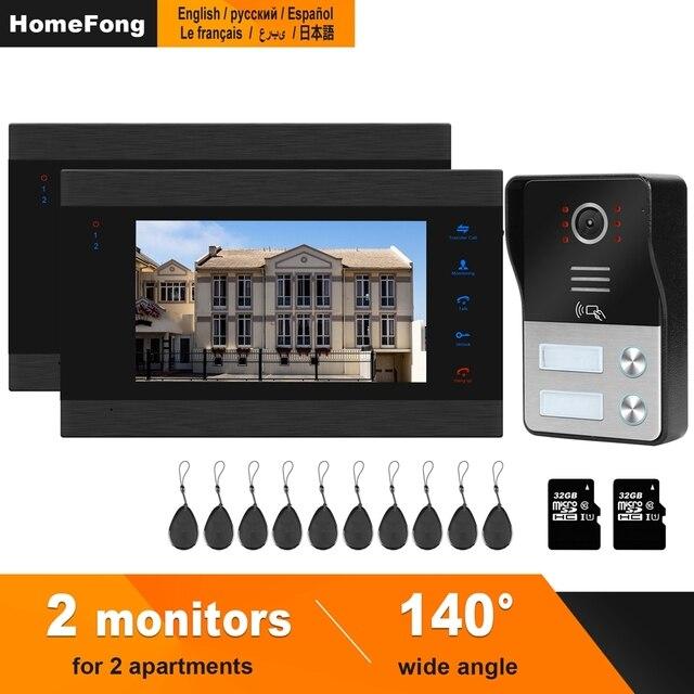HomeFong Ha Fissato il Video Telefono Del Portello di Sicurezza Domestica Appartamento Sistema di Controllo di Accesso 1 Campanello 2 Monitor Supporto Elettrico blocco Sblocco