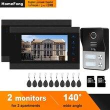 HomeFong videoportero con cable para seguridad del hogar, sistema de Control de acceso de apartamento, 1 timbre, 2 monitores, compatible con desbloqueo de cerradura eléctrica