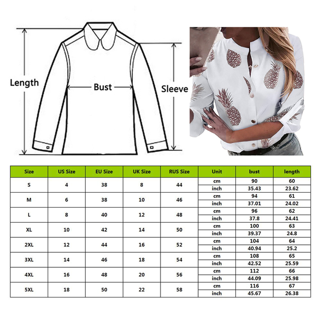 DIHOPE Women's Shirt Ananas White Long Sleeve Women's Blouse  2020 Womens Tops And Blouse Top Female Autumn New Plus Size 5xl 6