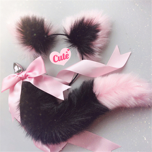 Image 5 - Diademas suaves con orejas de gato y lazo de cola de zorro, tapón Anal de Metal, accesorios de Cosplay eróticos, Juguetes sexuales para adultos para parejas