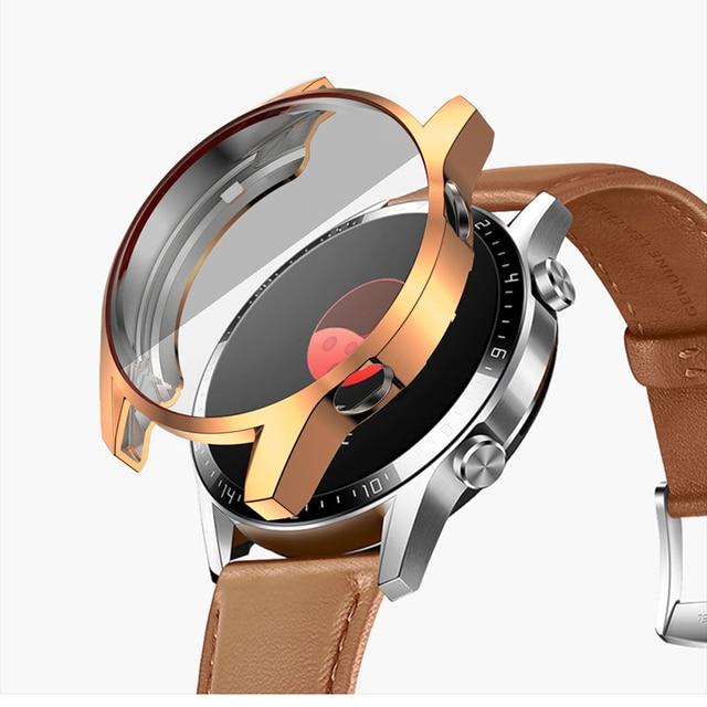 Montre étui pour huawei en TPU GT 2 46mm bracelet bracelet montre GT/GT2 46mm doux plaqué tout autour de la couverture de protection d'écran coques antichoc