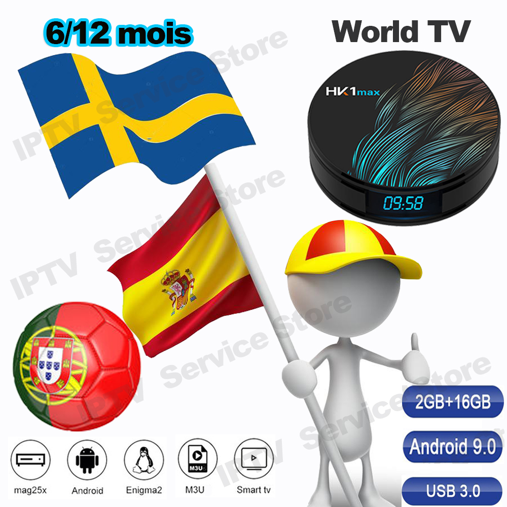 TV spain Spanish live channels TV Portugal Sweden M3U Subscription Account Code M3u Enigma for hk1 max android smart tv box(China)