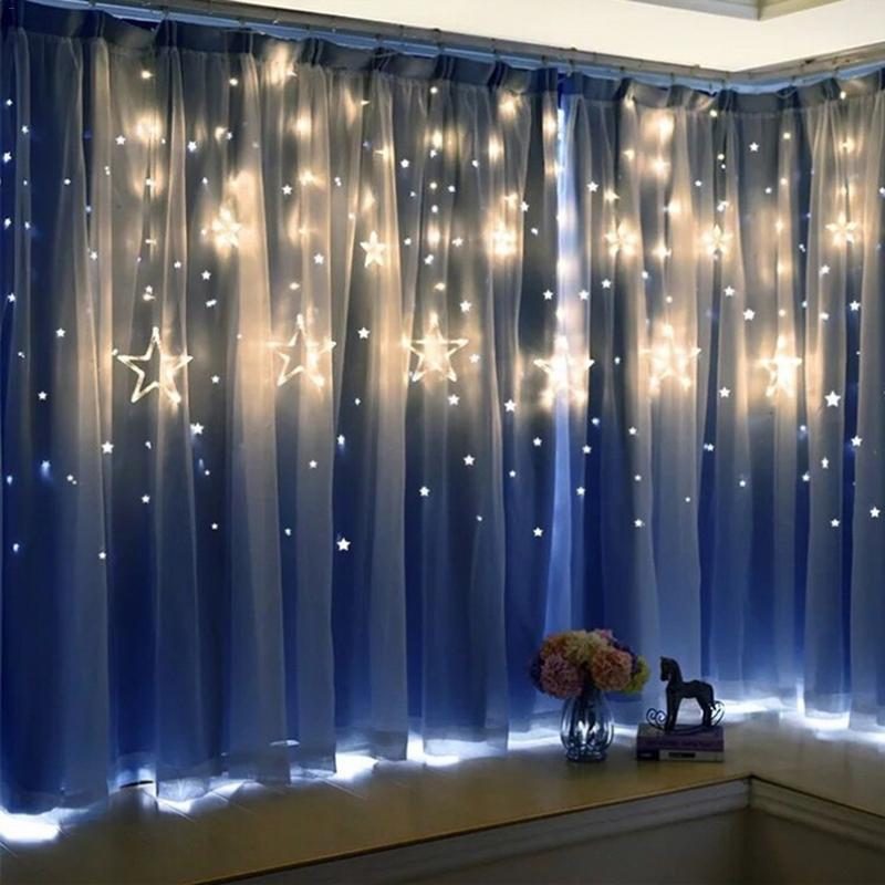 LED String Lights Pentagram Star Curtain Lights Fairy Wedding Birthday Christmas  Lighting Indoor Decoration Light 220V IP44