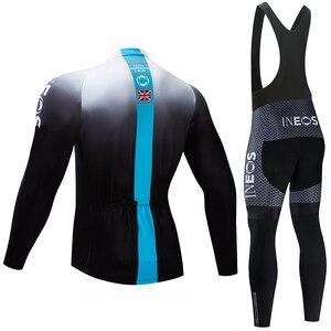 Image 4 - INEOS Conjunto de Ropa de Ciclismo para hombre conjunto de JERSEY y pantalones térmicos de lana profesional, Maillot de bicicleta para invierno, 2020