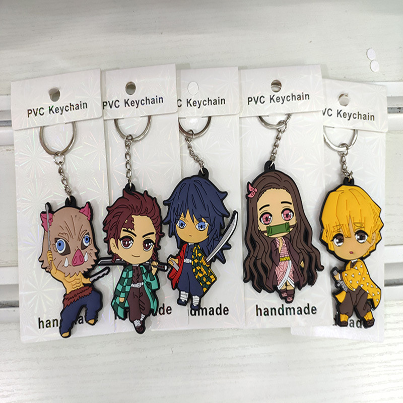 5pcs/set Anime Demon Slayer: Kimetsu No Yaiba PVC Figure Keychain Pendant Toys Tanjirou Nezuko Figures Two-sided Keychain Set