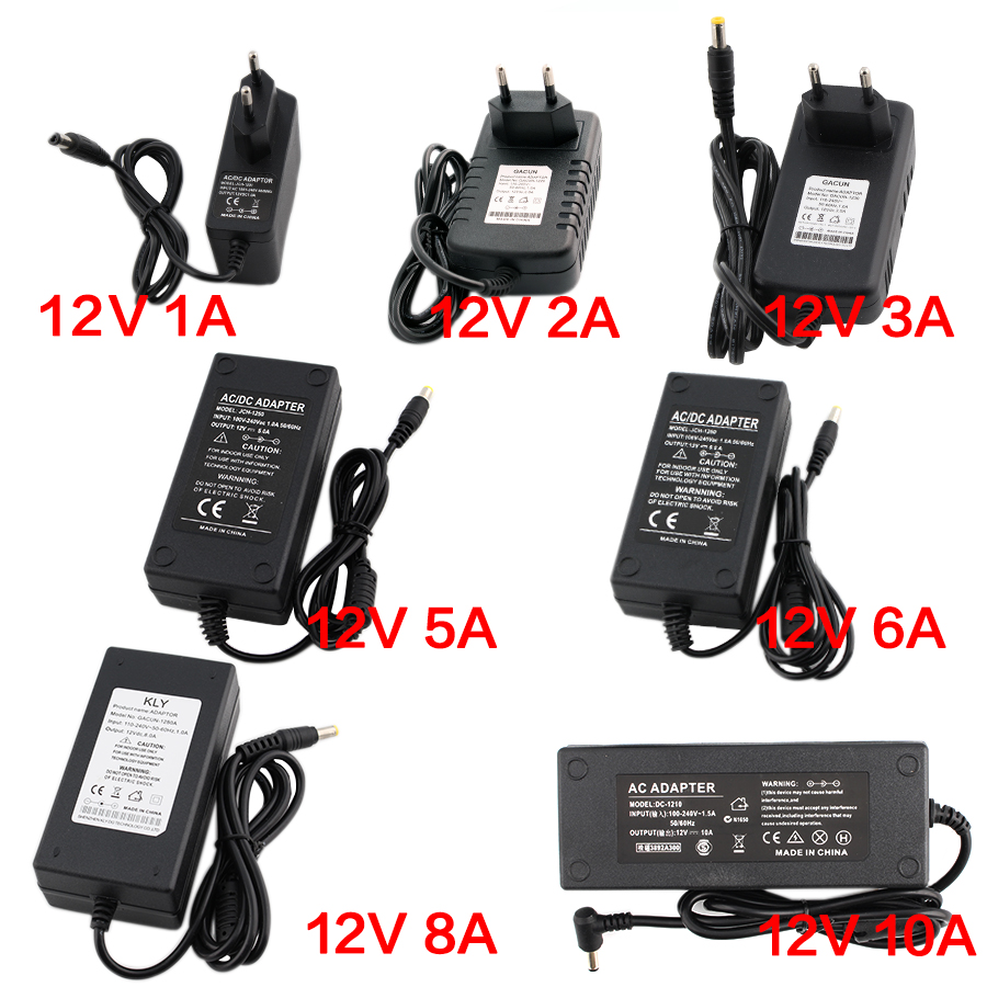 AC DC 12V Volte Power Adapter supply 1A 2A 3A 5A 6A 8A 10A Supply Transformers Led Driver for led lamp