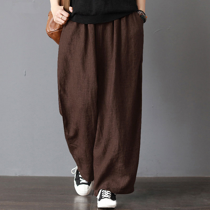 2019 Spring Autumn Cotton Linen Women Leisure Comfortable Loose   Wide     Leg     Pants