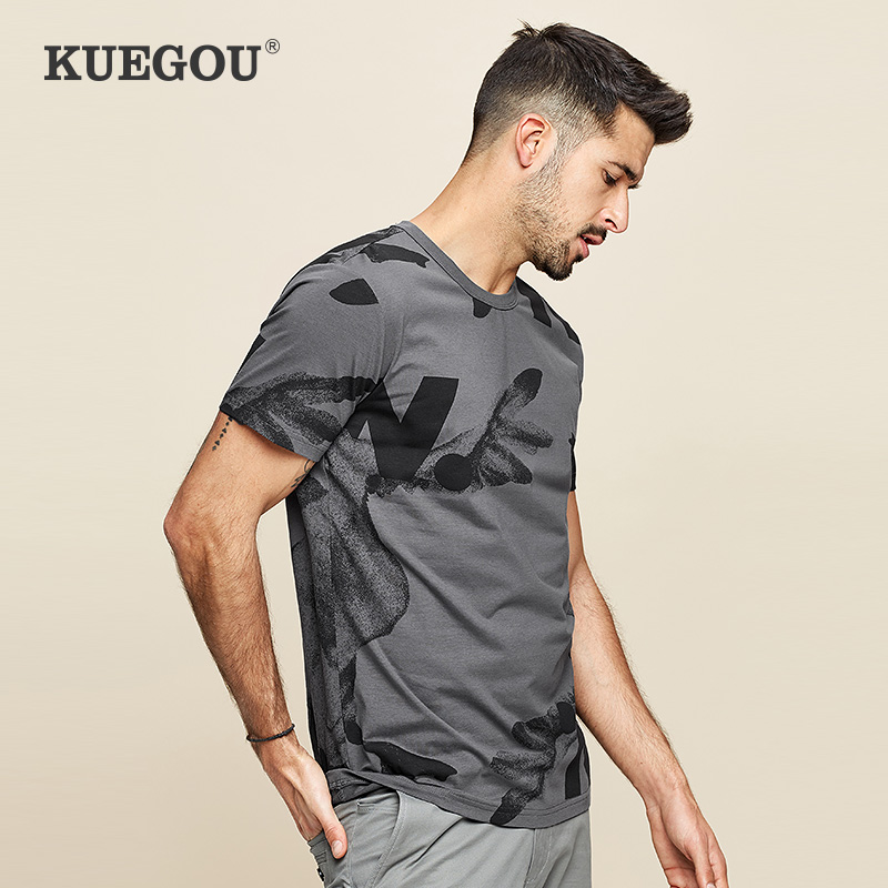 KUEGOU Men's Short Sleeve T-shirt  Printing Fashion Gray T Shirt For Men Elastic Slim Summer Tshirt Men Tops Plus Size ZT-390