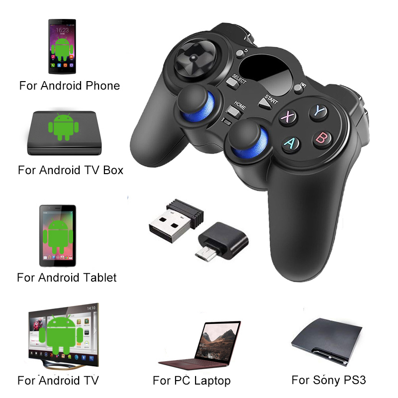 2.4 G <font><b>Controller</b></font> Gamepad Android <font><b>Wireless</b></font> Joystick Joypad with OTG Converter For PS3/Smart Phone For Tablet <font><b>PC</b></font> Smart TV Box image