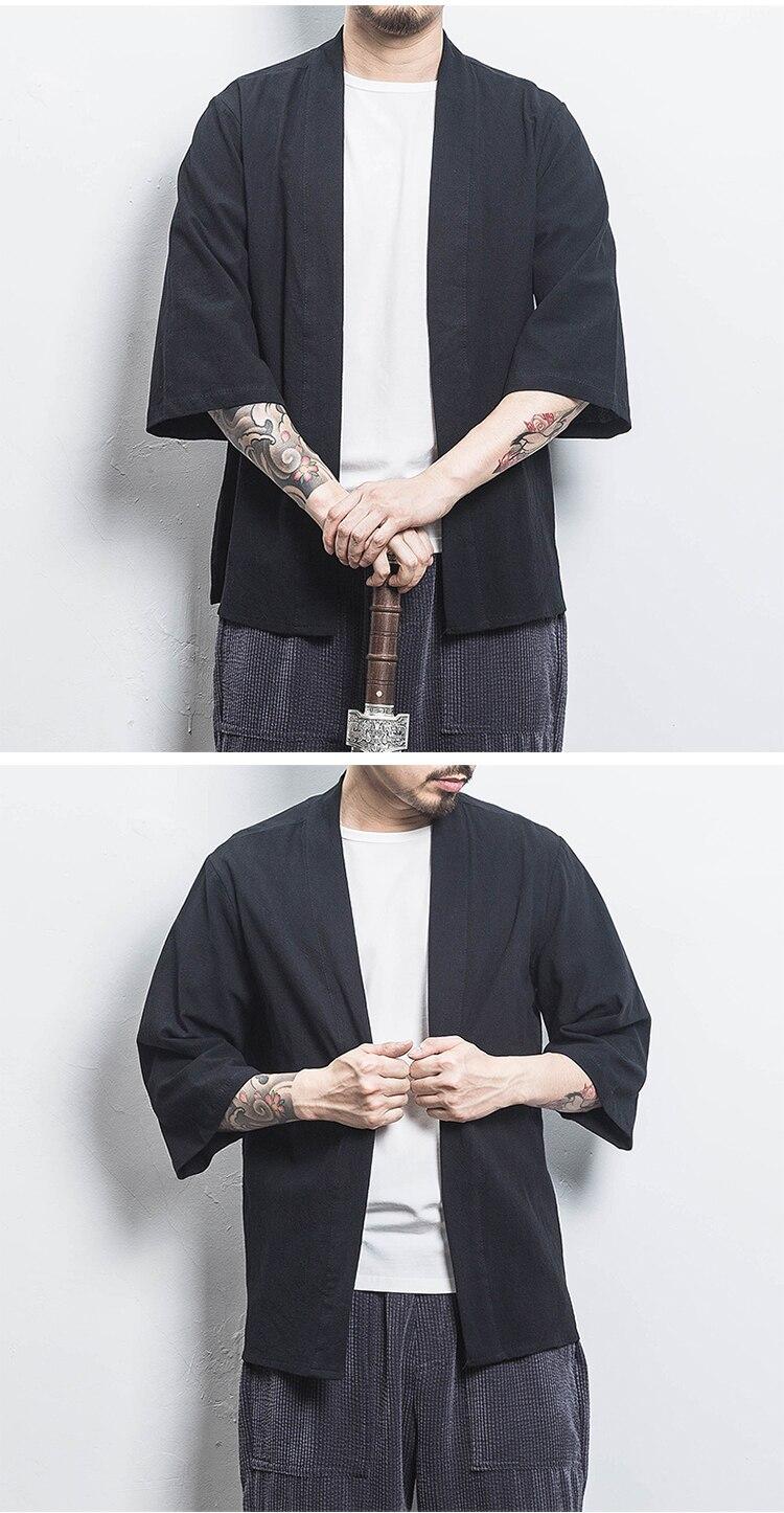 Hb38a33a0f45d470684b986e7df4cc99fA Drop Shipping Cotton Linen Shirt Jackets Men Chinese Streetwear Kimono Shirt Coat Men Linen Cardigan Jackets Coat Plus Size 5XL