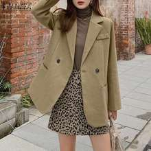 Suits Blazers ZANZEA Neck-Jackets Solid-Coats Office Woolen Elegant Fashion Casual Women