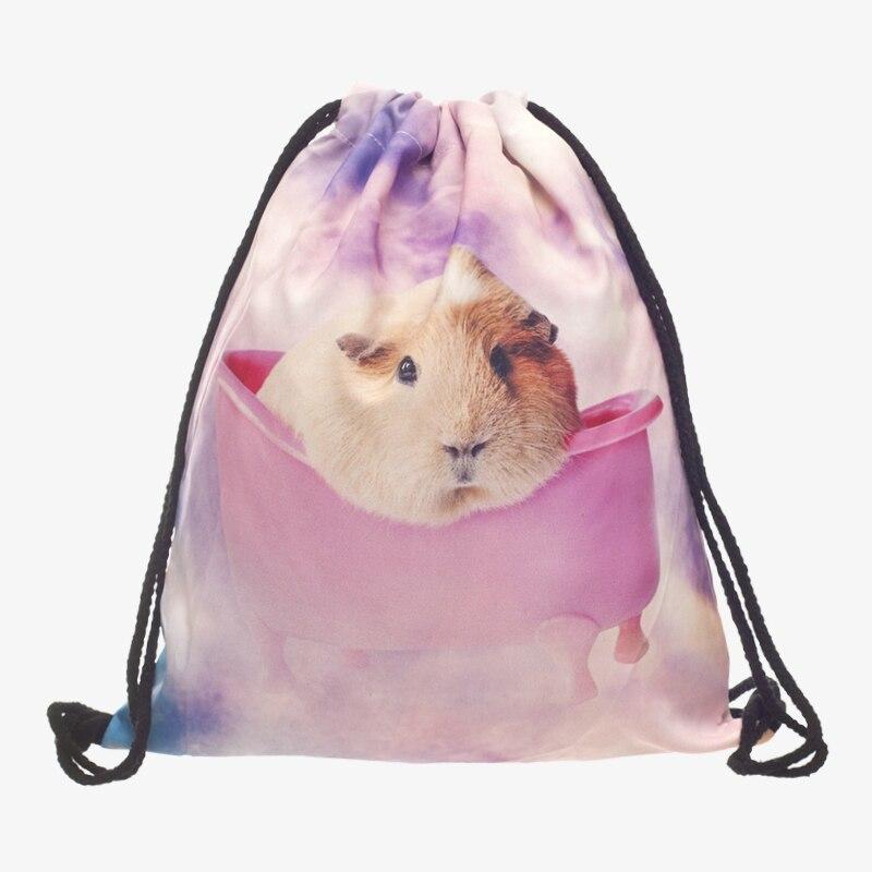 New 3D Printed Drawstring Bag Guinea Pig Fashion Mochila Cuerda Bag Sports Drawstring Backpack Women Men Modis String Bag Girl