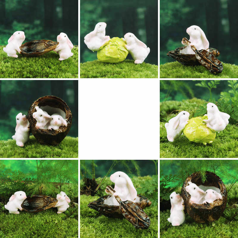 1pcs Cute Resin Boating Rabbits Animal Miniature Fairy Garden Moss Micro Landscape Ornament Decor