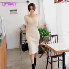 2019 Korean version of autumn and winter wear new slim sexy deep v-neck knit bottom bag hip dress female
