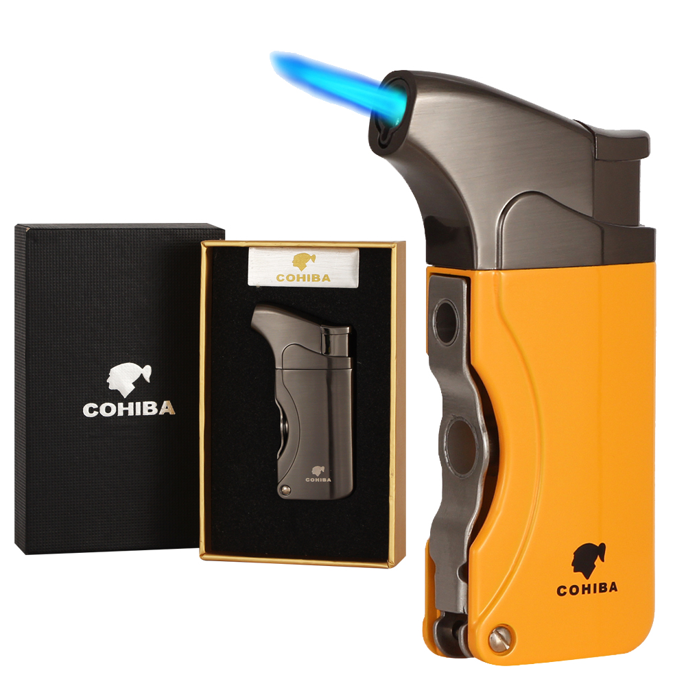 COHIBA Lighters Metal Windproof Butane Gas Lighter Refillable Torch Jet Flame Cigarette Cigar Lighter Built-in Cigar Punch