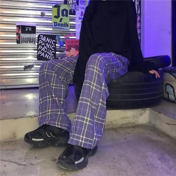 Purple Plaid trousers  3