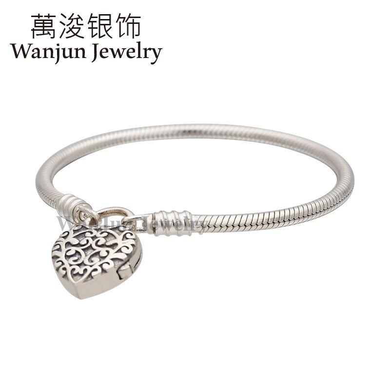 Wanjun Jewelry 100%925 Sterling Exquisite DIY Noble Heart Padlock Snake Bones Chain Free Gift To Friends