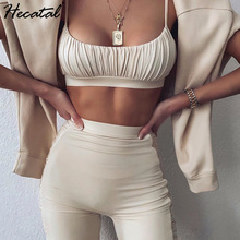 Hecatal Sexy Sling Yoga Sets Tube Top High Waist Leggings Women Solid Color Gym Set Sling Vest Sport Suit Ropa Deportiva Mujer
