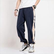 Summer New Korean Fashion Long Pants Men Autumn Cotton Linen Pants Teenage Button Patchwork Trousers Plus Size M-8XL