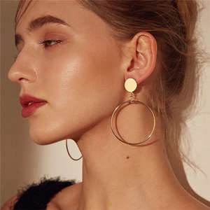 Earrings Silver-Plated Jewelry Round Gold-Color Fashion Women Big for Hollow Geometric