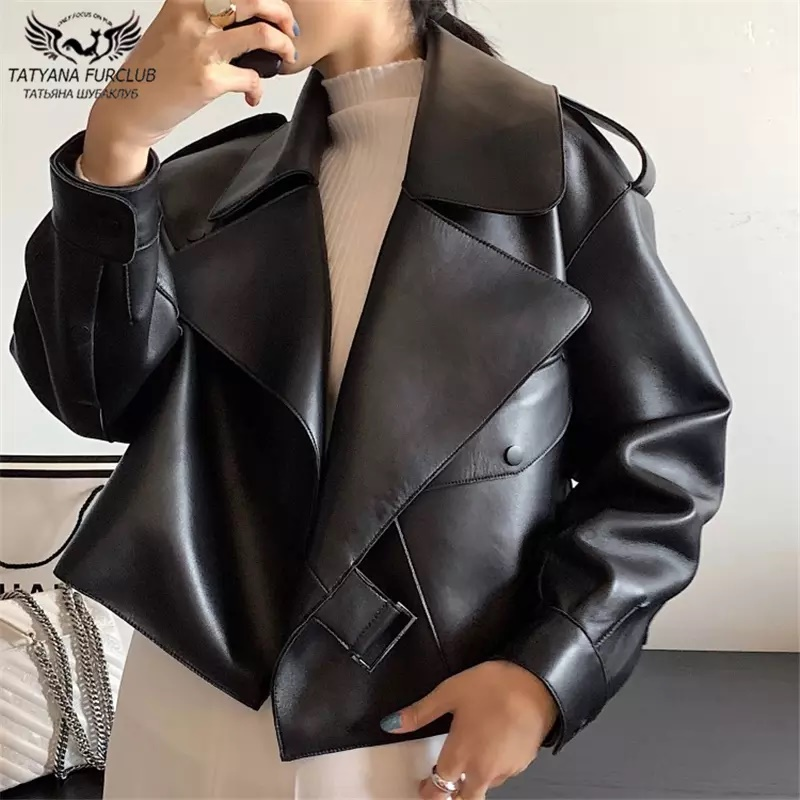 2020 neue Mode Frauen Echtem Schaffell Leder Mantel Übergroßen Motorrad Echt Leder jacke Große Revers Kragen Frau Mäntel