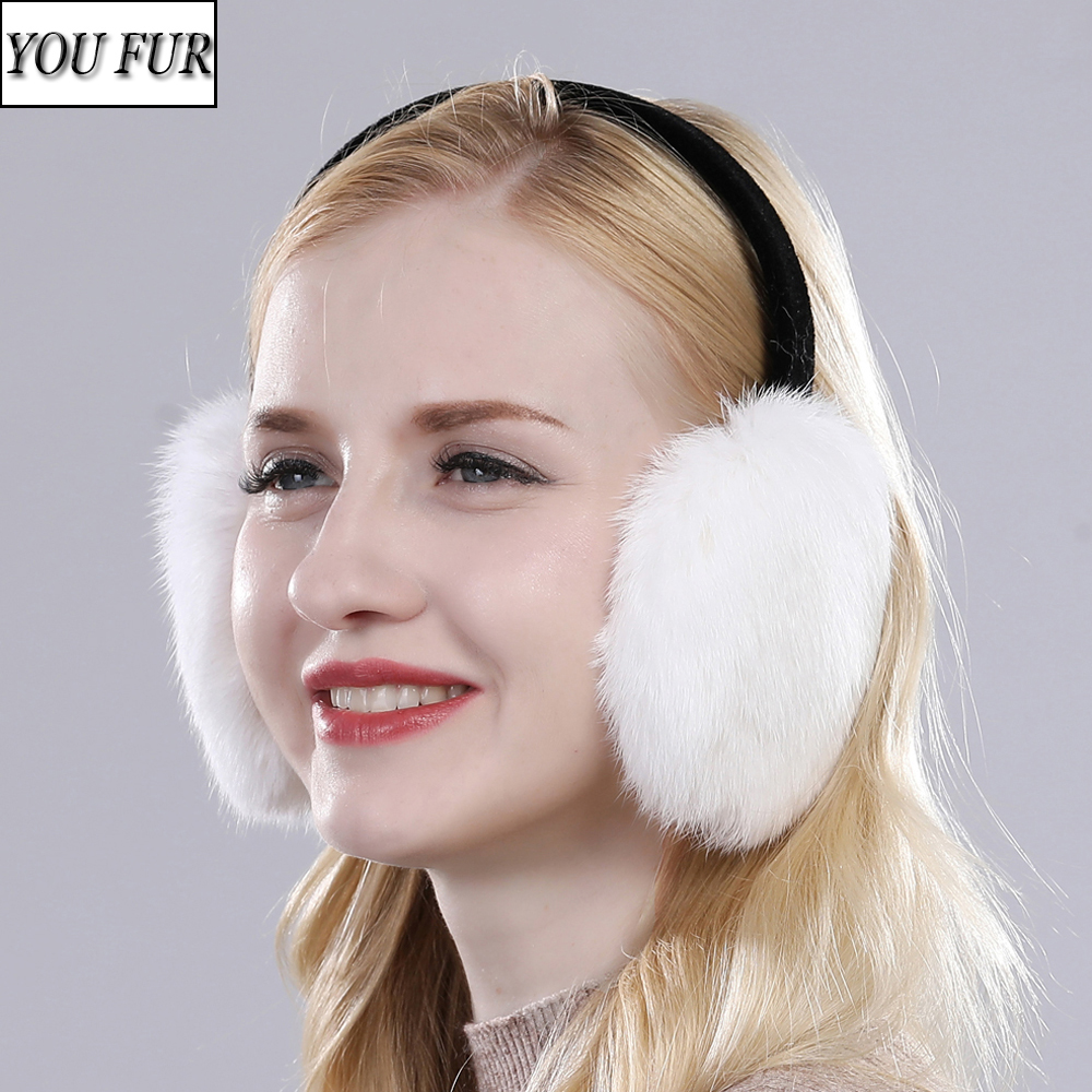 New Real Rabbit Fur Earmuffs For Girls Winter Warm Plush Real Genuine Rabbit Fur Plush Ear Muff Women 100% Natural Fur Earlaps