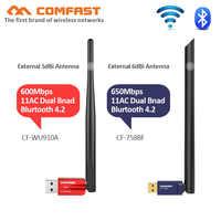 AC600 600Mbps WPS pilote gratuit USB WiFi adaptateur 5G WiFi antenne PC ordinateur carte réseau 802.11ac bluetooth wi fi récepteur dongle