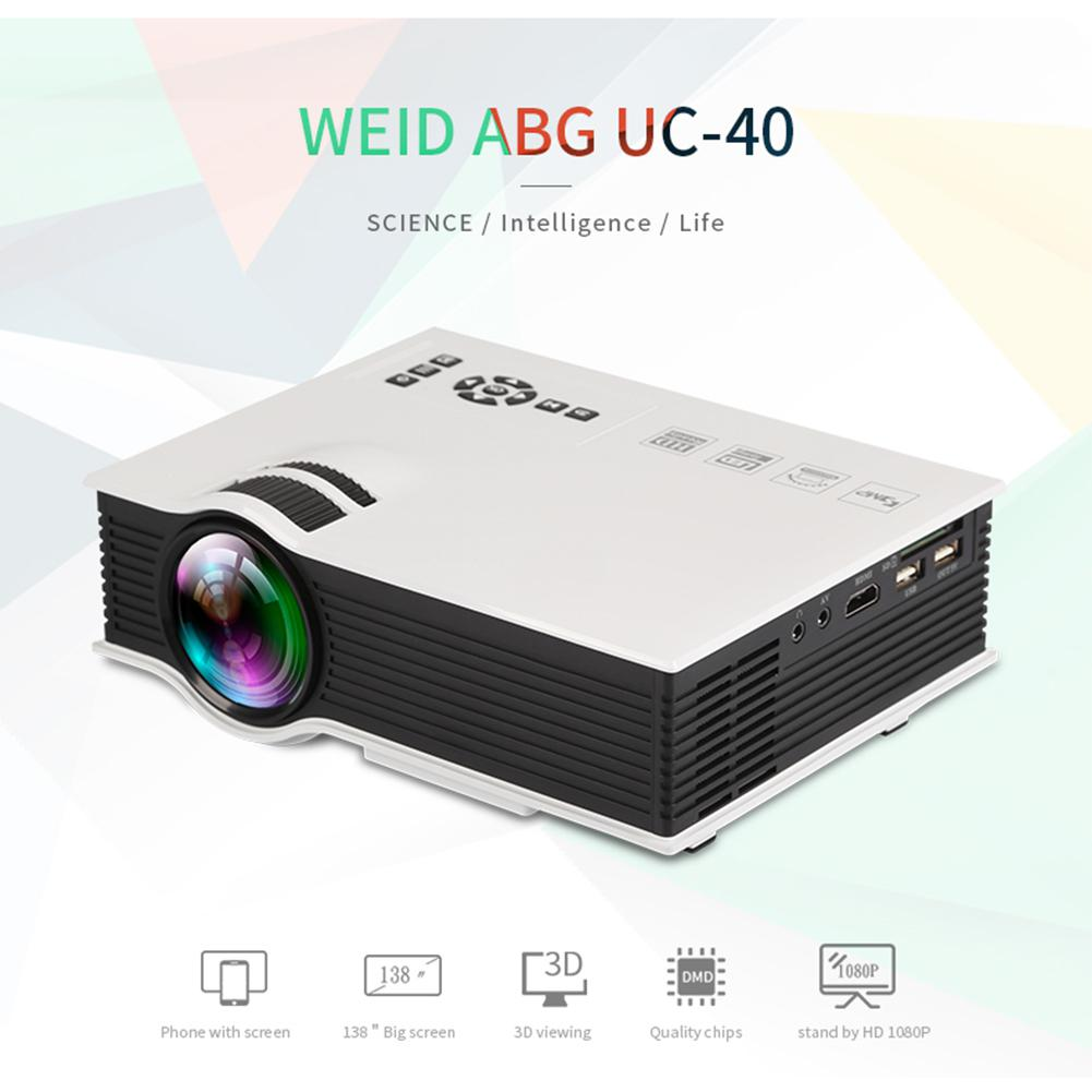SOLLED UC40+Mini Pico Projector HD Home Entertainment Portable LED Projector