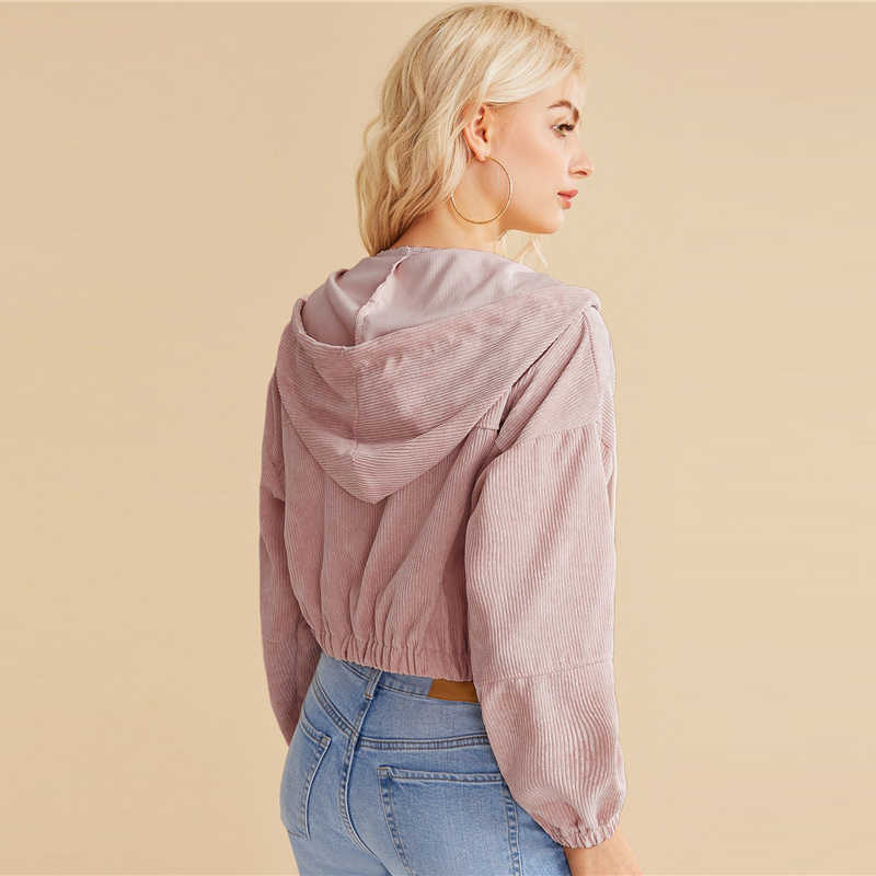 SHEIN コーデュロイジッパーフロント巾着フード付き作物ジャケットコート女性 2019 秋のストリート女性ダブルポケットカジュアル生き抜く
