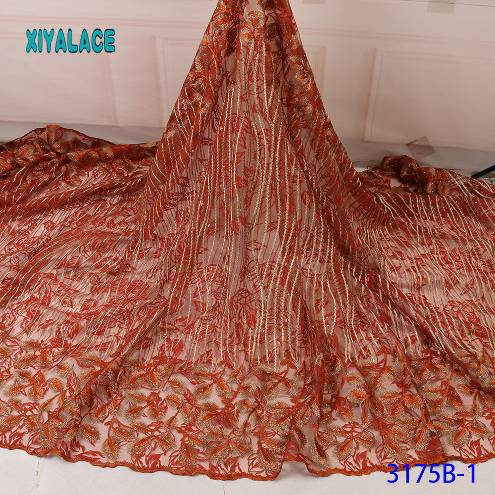 High Quality French Embroidered Lace Fabric Tulle Nigerian Lace Fabrics African Tulle Lace Fabric For Women Wedding YA3175B-1