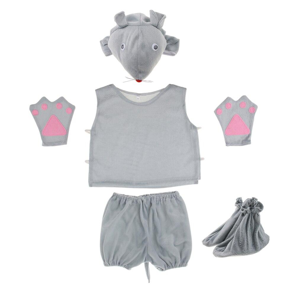 Kids Cartoon Mouse Cute Pajamas Child Funny Sleepwear Nightwear Animal Cosplay Costume 5 Pcs Set Photo Props Gray
