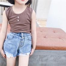Tao. catkids/ летняя одежда, новая продукция, детский Универсальный однотонный жилет, простая кружевная Детская рубашка