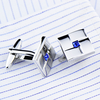 High Quality Classic  Simple Blue Crystal Cufflinks 1