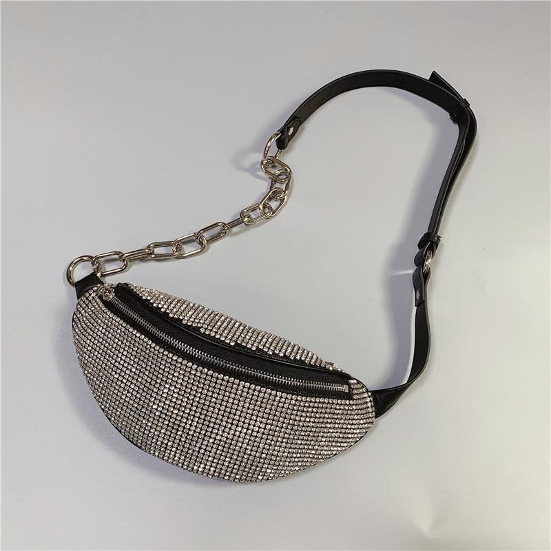 Diamonds Fanny Pack For Women Leather Chest Bag Fashion Wallet Fanny Packs Belt Bag High Quality Chain Shoulder Bags Waist Bag