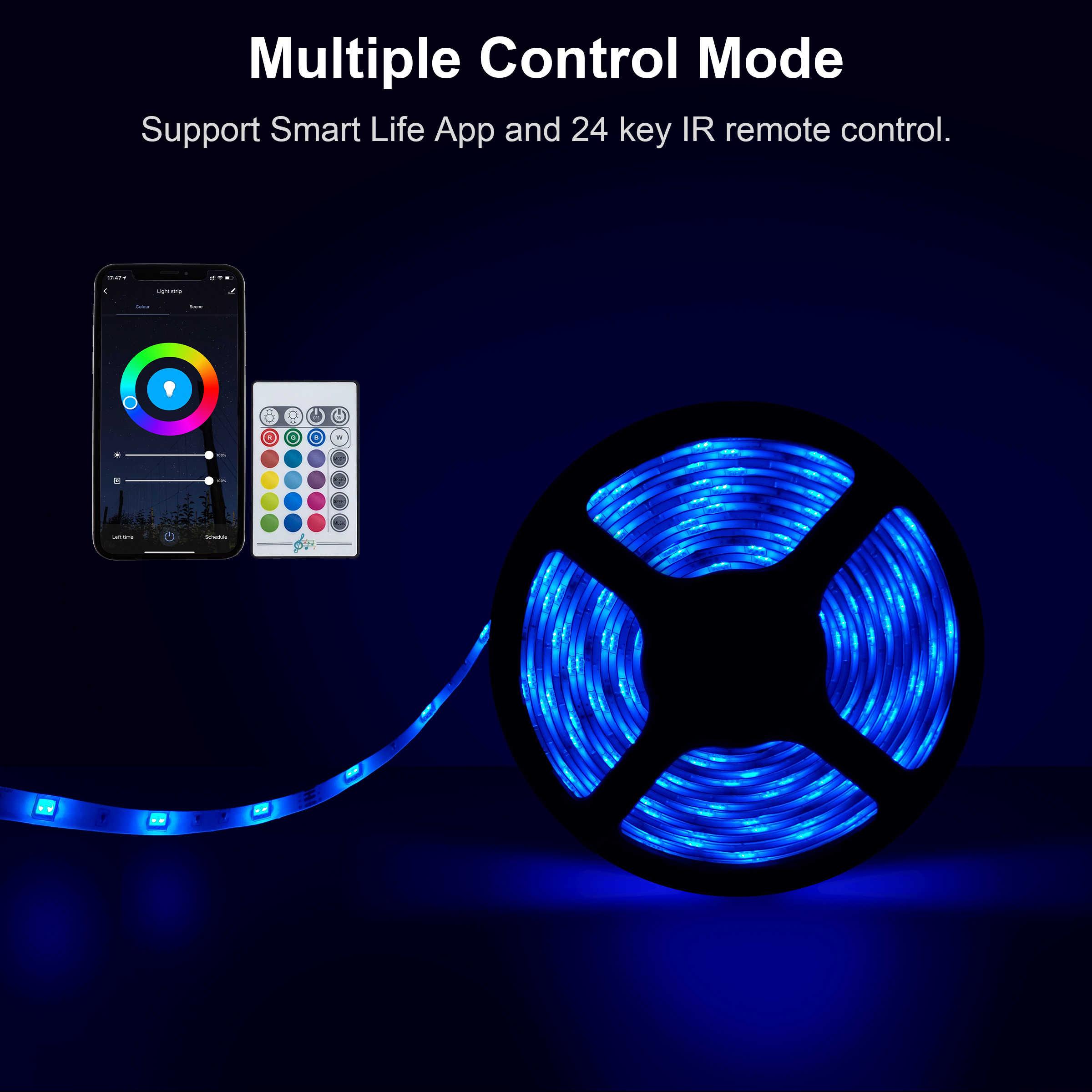 חכם LED רצועת אורות 5050 RGB ניתן לעמעום Wifi אור רצועת 2M 5M 10M Tuya App בקרת IP65 עמיד למים תמיכת Alexa Google בית