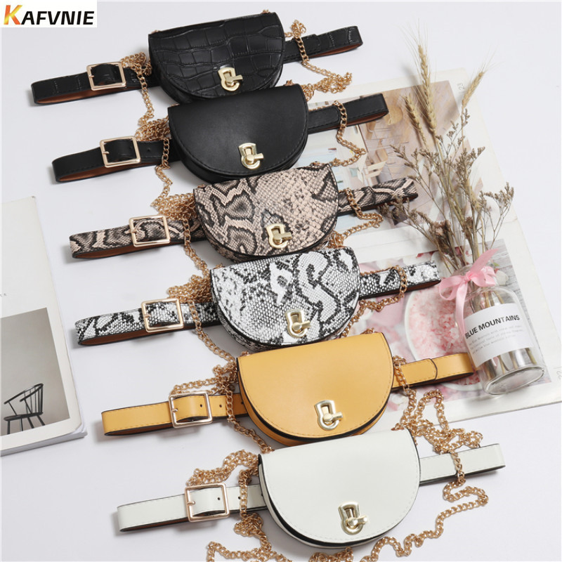 KAFVNIE Luxury Belt Bags Vintage Semi-circle Waist Belt Bags Phone Pocket PU  Waist Pouch Vintage Lady Fanny Pack Wholesale 2019