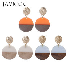 Resin Wood Art Round Discs Natural Wooden Drop Earrings Women Fashion Jewelry