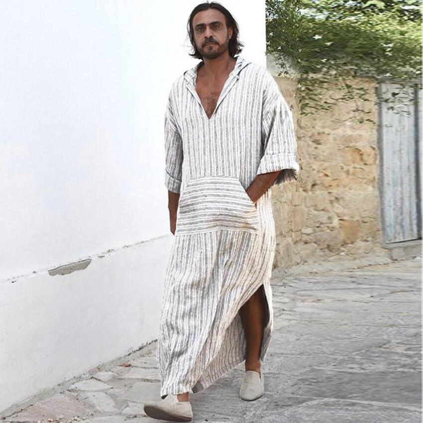 Saudi Arabia Men Muslim Jubba Thobe Hooded Striped V-neck Linen Breathable Long Robe Shirt Islamic Clothing Men Casual Outfits