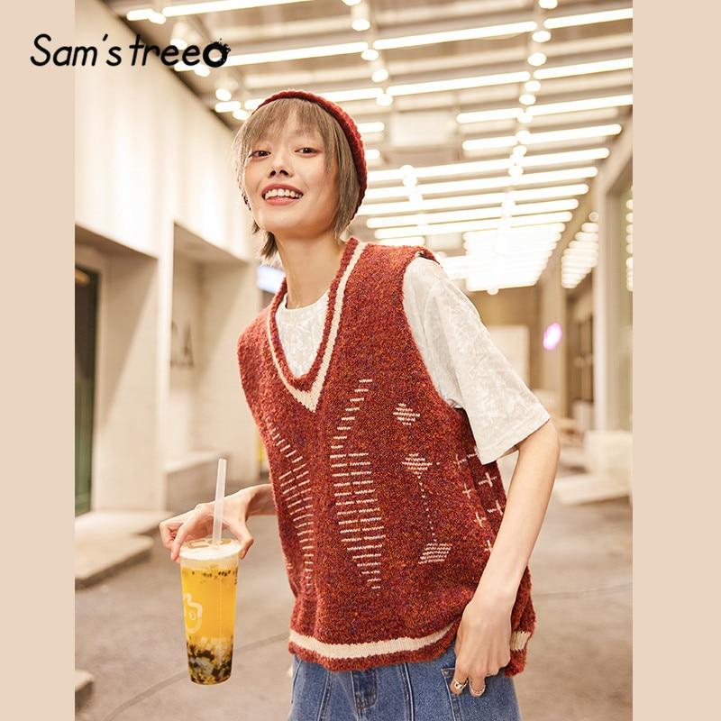 SAM'S TREE Burgundy V Neck Preppy Jersey Sweater Vest Women 2020 Spring Green Sleeveless Vintage  Ladies Basic Sarafan Tops
