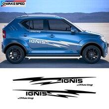 Esporte de corrida listras carro ambos lado corpo decoração adesivo para SUZUKI IGNIS auto porta decalques vinil acessórios do exterior
