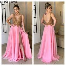 HONGFUYU pembe şeffaf v yaka vestidos de gala fiesta kolsuz balo elbise altın aplikler örgün abiye uzun yarık